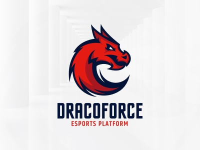 Dragon Force Logo Template red sale vector template logo circle round tail head dragon
