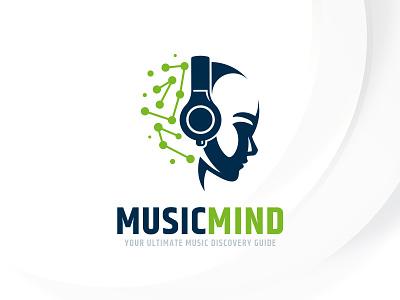 Music Mind Logo Template dj sound template logo headphone mind head music