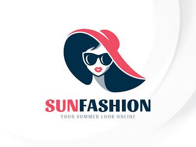 Summer Fashion Logo Template sale template logo fashion retro hat woman summer sun