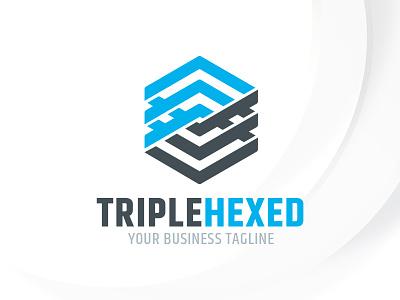 Triple Hexagon Logo Template triple envato sale psd vector template logo hexagon
