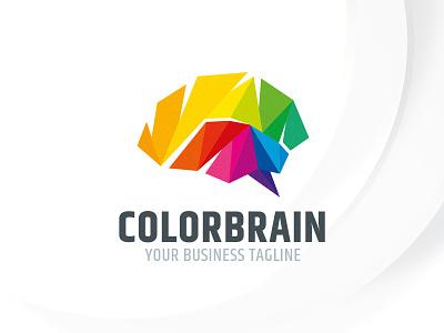 Color Brain Logo Template sale logo polygon think mind brain rainbow colorful