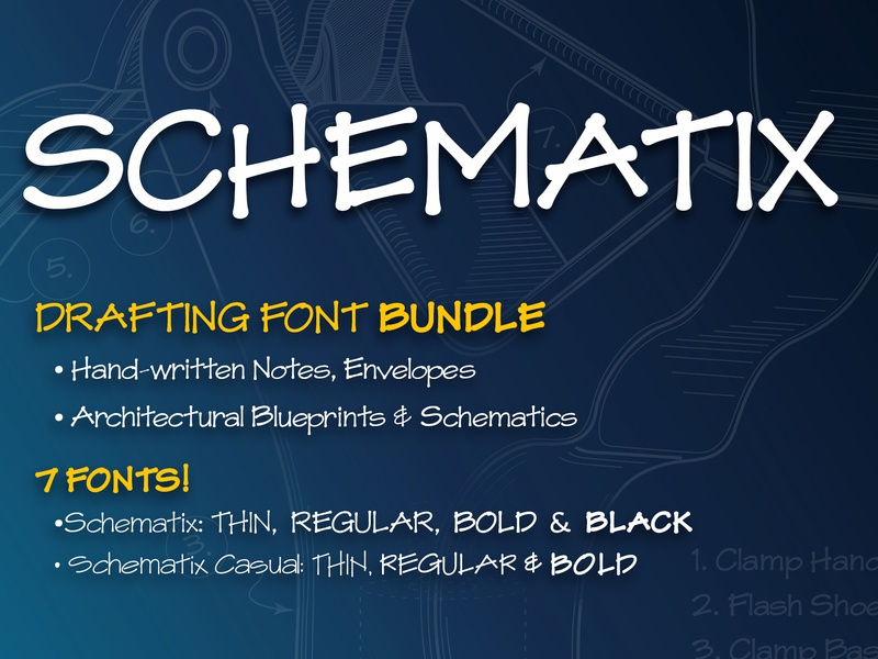 Schematix: Blueprint-style Handwriting Font hand lettered font hand lettering drafting architectural blueprints lettering