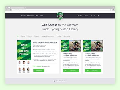 TrackCycling Program Cards ux user ui sports pricing library interface filtering filter ard