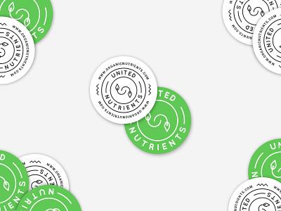 White & Green Stickers badge green logo design stickers circle logo organic sticker
