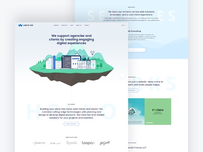 Low Dribbble floating island illustration web design landing page agency