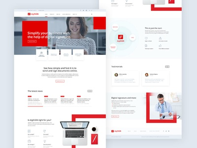 Digital signature homepage square web design website landing homepage red signature digital signature