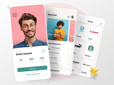 Influencers Mobile App social app mobile ui ux design