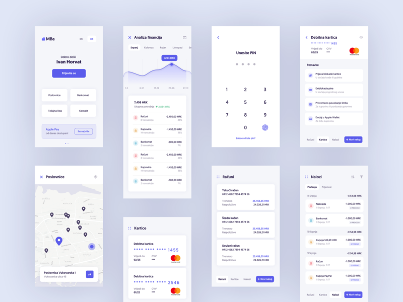 Banking App Exploration cards card exploration uxdesign clean ui lilac purple banking app banking mbanking mobile app design mobile app