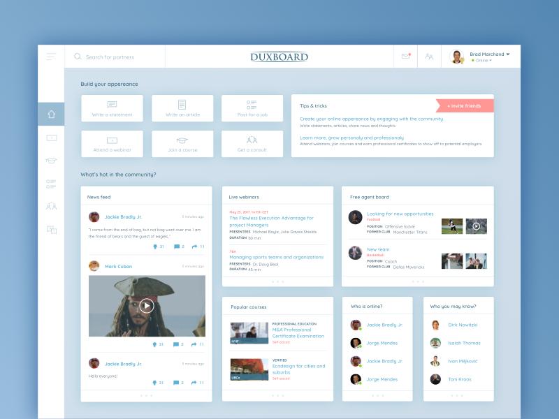 Duxboard platform sports platform learning platform social network dashboard