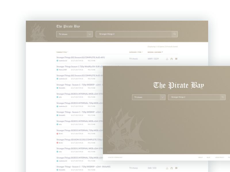 PirateBay Redesign website ux ui challenge clean redesign piratebay