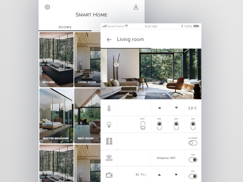 Smart Home light clean mobile app home smart ux ui