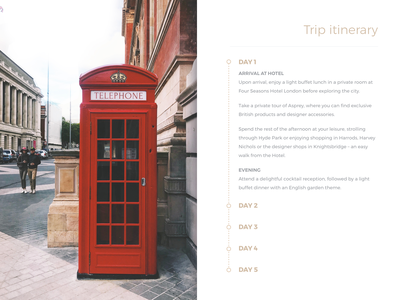 Trip itinerary clean website travel itinerary ux ui