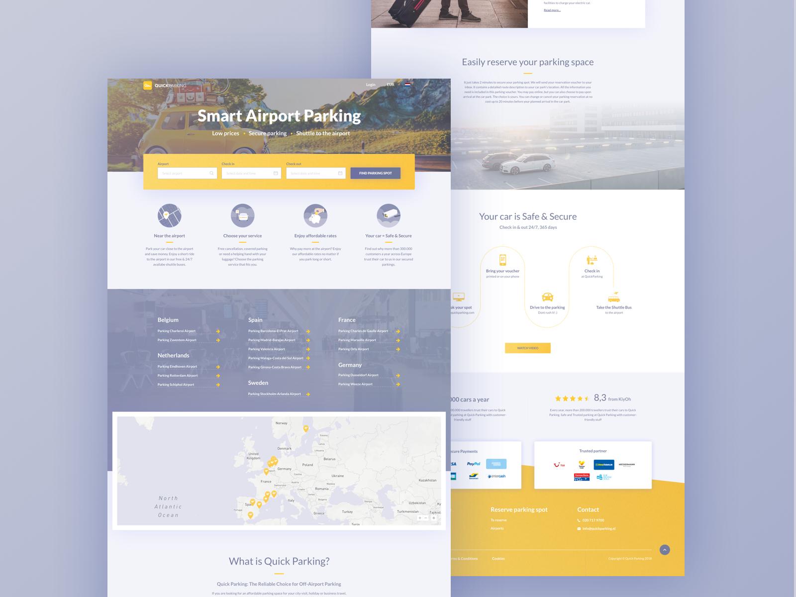Quick Parking Homepage redesign flat clean landing page website design ux ui