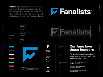Fanalists - Logo Redesign ✔️ tech chart fans media entertainment sport logo redesign logo design logo f logo f monogram data driven performance perform accelerator accelerate data analytic analysis fan