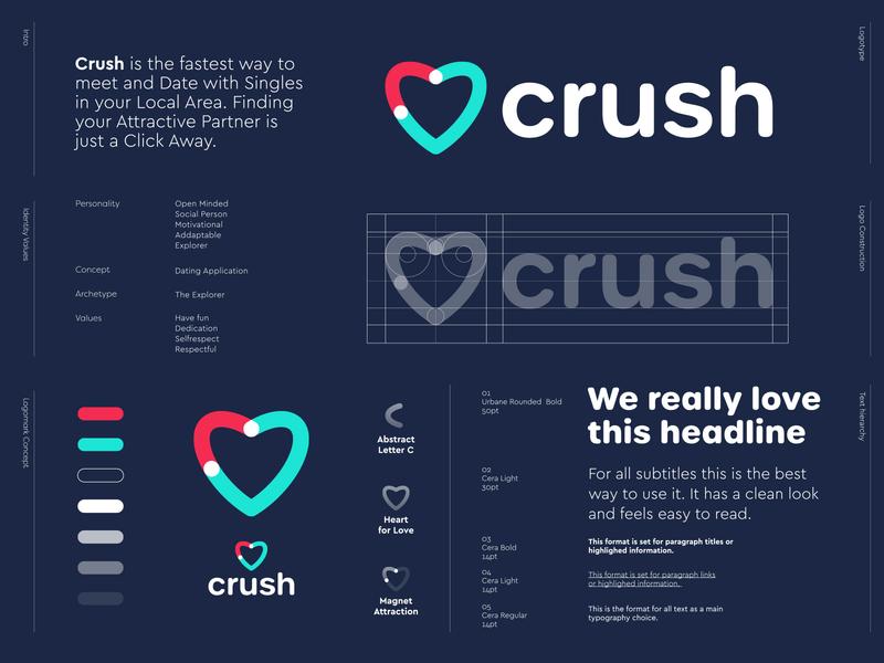 Crush - Logo Design 🧲 lettermark letter logo c monogram dating partner hearts love attraction attractive magnet heart application app date crush brand design branding creative logo logo logo design