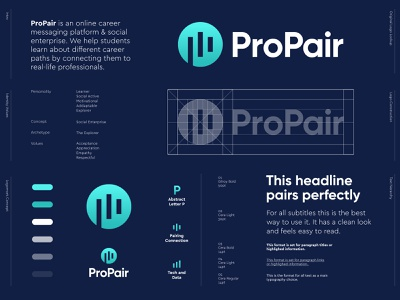 ProPair - Logo Design 🌐 logo design logo platform digital connecting connect business enterprise social networking network match pairing pair pro professional work student career global