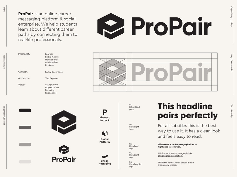 ProPair - Logo Design / Part 3 ✅ enterprise student grow educate career digital platform logotype styleguide branding messaging message pair black black logo monochromatic monochrome logo design concept logo designs logo logo design