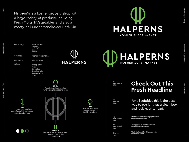 Halperns - Logo Redesign 🛒 branding healthy fresh h monogram h kosher food kosher market kosher united kingdom united manchester store super market market grocery logo redesign logo halperns