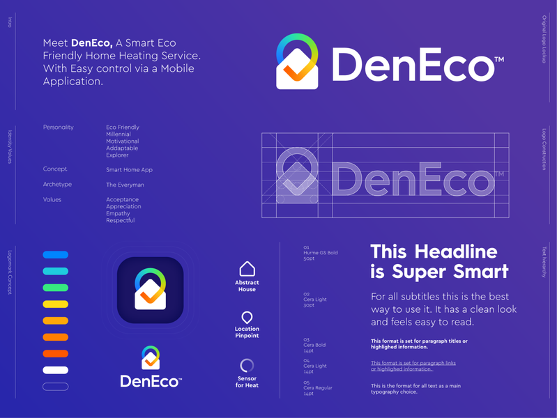 DenEco - Logo Design 🏠📱 identity logo branding mark symbol ui den heat warm app application briefbox home house check checkmark pin pinpoint eco heating