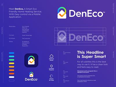 DenEco - Logo Design 🏠📱 identity logo branding mark symbol ui den heat warm app application briefbox home house check checkmark pin pinpoint eco heating