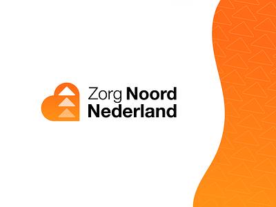 Zorg Noord Nederland - Logo Design 🧡 nederland noord zorg netherlands orange dutch people medical medic personal human health healthcare care logo design logo arrow aim heart north