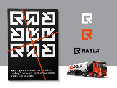 Rasla Logistics - Brand Exploration 🟧⁣⁣ arrow letter monogram logo monogram monogram management solution storage provider saudi arabia warehouse transport truck logo design logo logistics logistic rasla