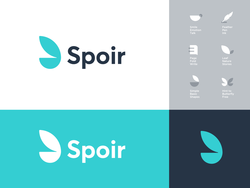 Spoir - Logo Design 🦋 brand identity pen feather ink smile minimal logo write blog logo design logo negative space paper page spoir tell stories leaf nature butterfly