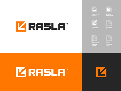 Logo Design v2 for Rasla Logistics 🟧⁣⁣ transportation transport boxes box scale arrow saudi arabia logistics logistic symbol grid logo design lettering icon mark monogram branding identity logo rasla