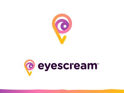 EyesCream - Logo Design 🍦 colors lettering dot see logo rebound creative logo branding eyescream gradient logo lines eyes eye ice cream ice