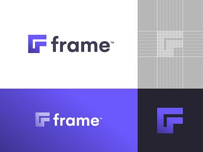 Frame - Logo Design 🟪 lette logo lettermark monogram f monogram ui set frameui frameui vector resources resource ui kit kit interface user interface corner square purple frame