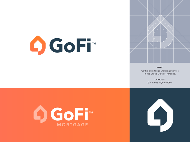GoFi Mortgage - 2nd Logo Concept 🏠 estimate quote logo identity branding broker brokerage negotiate bubble chat real estate estate real house home mortgage go finance gofi logo design logo