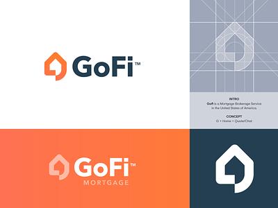 GoFi Mortgage - 2nd Logo Concept 🏠 estimate quote logo identity branding broker brokerage negotiate bubble chat real estate estate real house home mortgage go finance gofi logo design logo