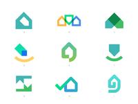 GoFi - Logo Concepts 🏠 real estate logo real estate price check location marker logo smile monogram m g mortgage tag buy house home broker finance fi go
