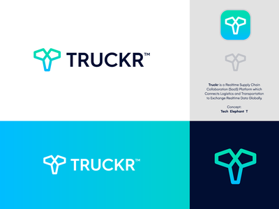 TRUCKR - Logo Design 🐘 movement transport logistic supply chain platform saas t t monogram tech data tracker truckr animal logo creative logo brand identity branding logo concept logo design logo elephant