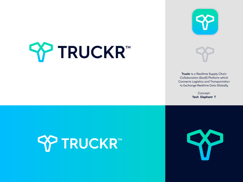 TRUCKR - Logo Design 🐘 movement transport logistic supply chain platform saas t t monogram tech data tracker truckr animal logo creative logo brand identity branding logo concept logo design logo elephant