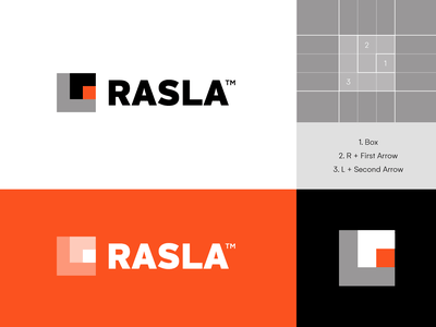 Rasla Logistics - Logo Concept 4 🟧⁣⁣ monogram r saudi arabia move container visual identity brand identity logo abstract logo creative logo abstract box arrows arrow mocement infrastructure transport logistic logistics rasla