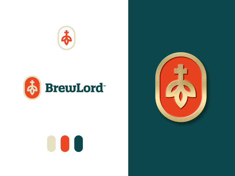 BrewLord - Logo Design 🍺 visual identity symbol church gold alcohol brewing company brewing creative logo logo design logo brew god brewlord hop emblem brand drink beer god lord brew