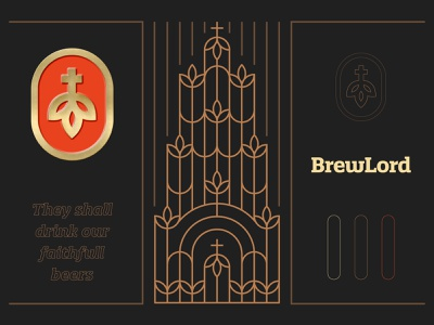 BrewLord - Branding 🍺 cross hop beers god brewlord emblem brand identity pattern illustration brotherhood brothers alcohol drink faith church lord brew beer