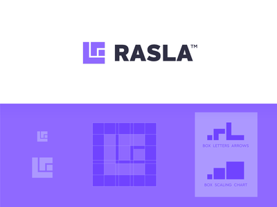 Rasla Logistics, Logo Design 🟪⁣ logistic business visual identity brand identity symbol minimal design logo grid chart data upscale scale r l arrow movement box monogram r saudi arabia logistics logistic rasla