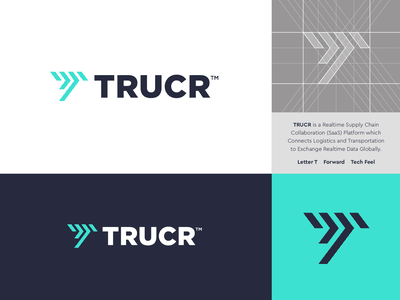 TRUCR - Logo Design ⏩ logo design logistic supply chain connect tech core software data platform saas symbol lettermark monogram t arrow motion movement move transport truck