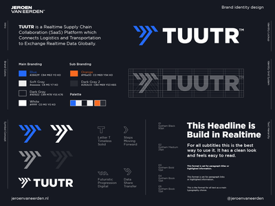 TUUTR - Approved Logo Design ⏩ brand design logo arrow steps logo lettermark future tool digital share collaborate connect transport movement data realtime chain supply tuutr