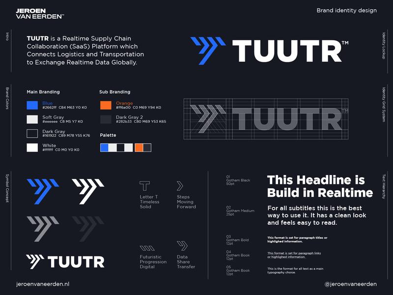 TUUTR - Approved Logo Design ⏩ brand design logo arrow steps logo lettermark future tool digital share collaborate connect transport movement data realtime chain supply tuutr