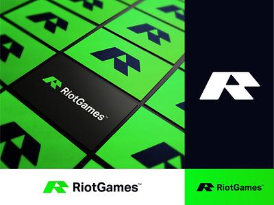 RiotGames - Logo Redesign 💚 poison green business card brand identity design brand design creative logo negative space logo play logo mark monogram r rebrand branding redesign logo games riot
