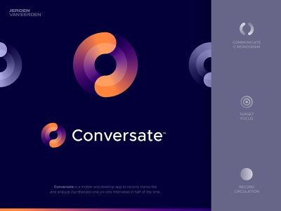 Conversate - Logo Design ⏺️ logo gradient brand identity design logo design branding forward turn time clock analyze interview film record rotation target bullseye focus talk conversation conversate
