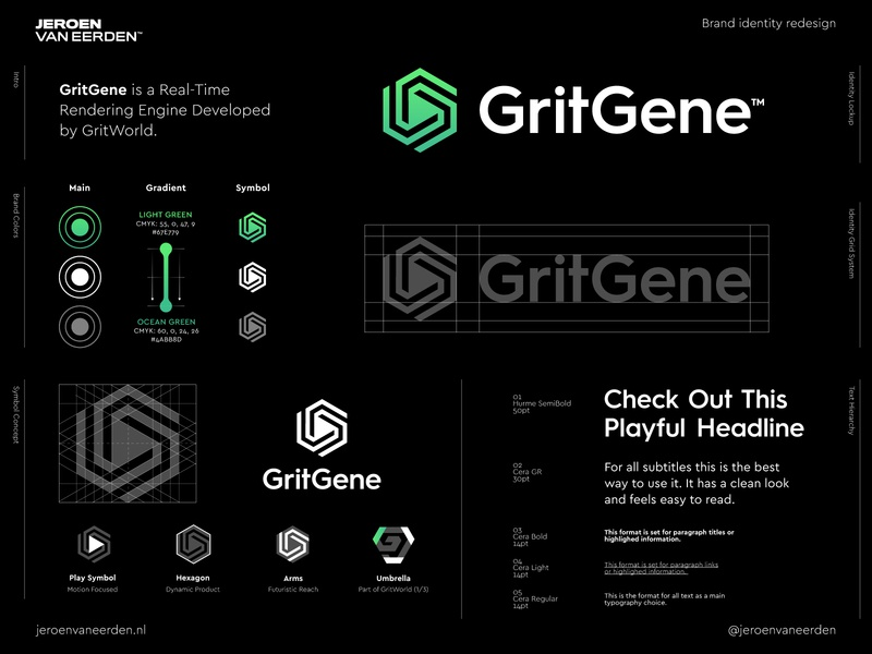 GritGene - Logo Redesign 🟢 visuals motion play hexagon arms hardware software platform development rendering render core engine grid grit redesign branding brand identity design creative logo logo design