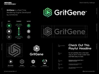 GritGene - Logo Redesign 🟢 visuals motion play hexagon arms hardware software platform development rendering render core engine grid grit redesign branding brand identity design creative logo logo design