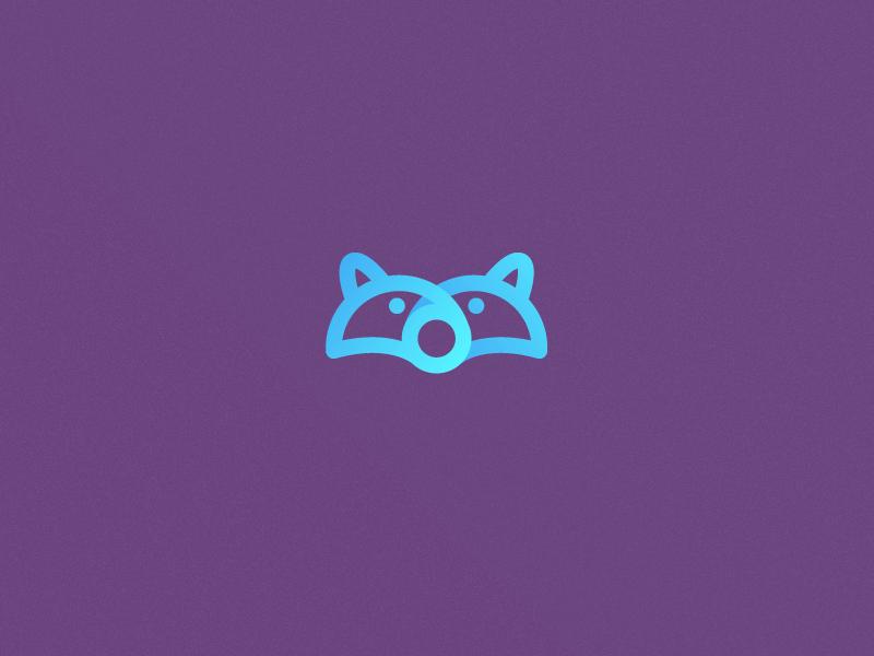 Racoon Icon.  racoon mark idea wip fun line art logo purple blue icon animal