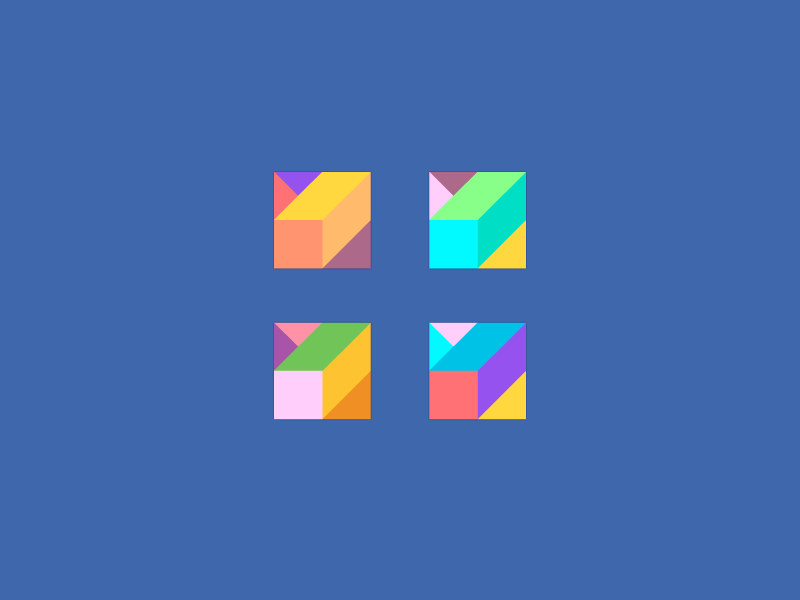 Icon Variations. icon design logo mark branding abstract shape cube brick bright symmetric