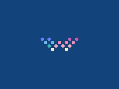 W - Logo Concept. monogram w letter lettering mark branding web hosting dot grid logo custom