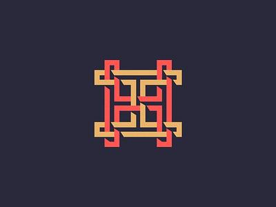 HH Monogram. h monogram letter lettering branding mark logo symmetric grid